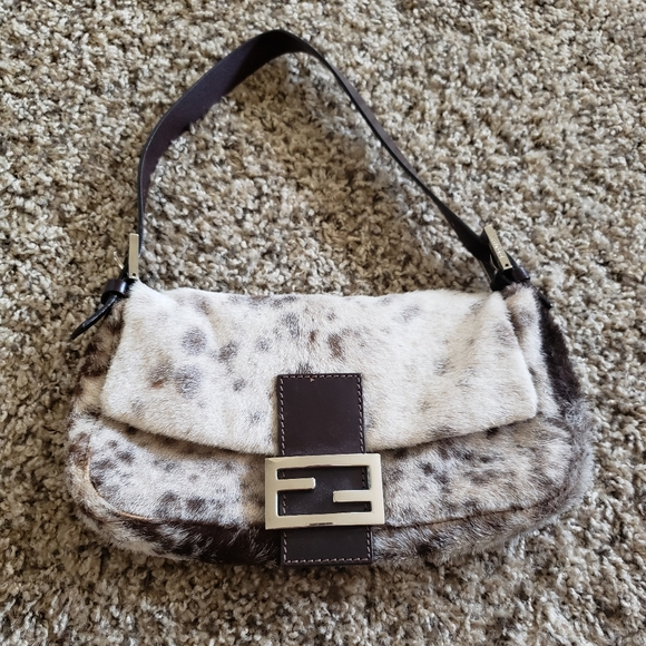 FENDI Baguette Bag with Genuine Pony Hair
